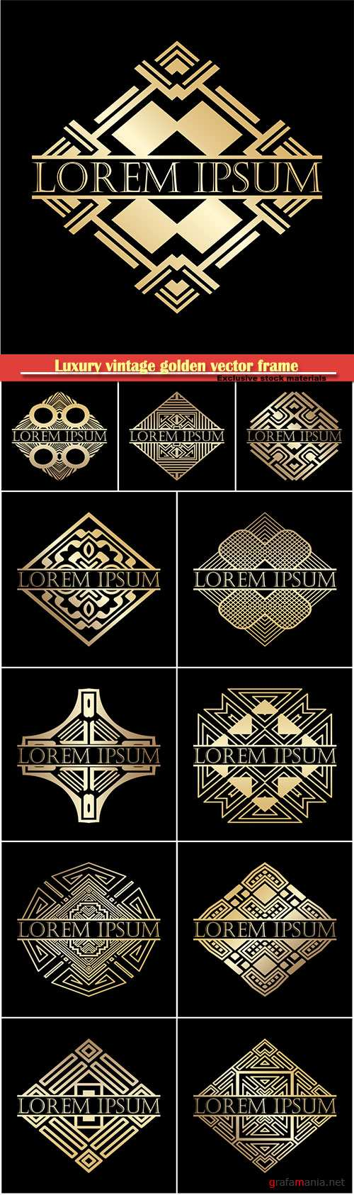 Luxury vintage golden vector frame, vector label for logo