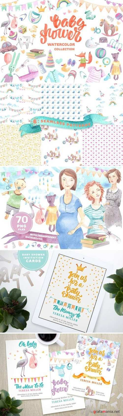 Baby shower watercolor collection 1872541