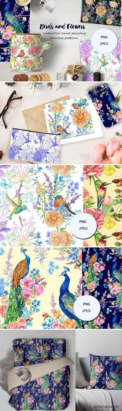 flowers and birds watercolor pattern 1887087