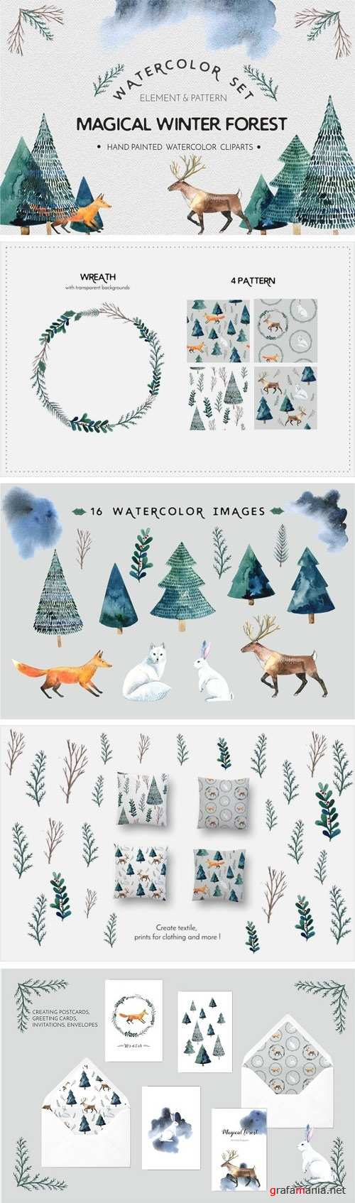 Watercolor Set Magical Winter Forest 1921010