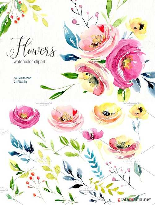 Watercolor bright flowers collection 1950929