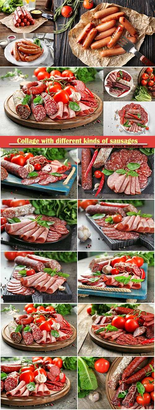 Collage with different kinds of sausages with vegetables