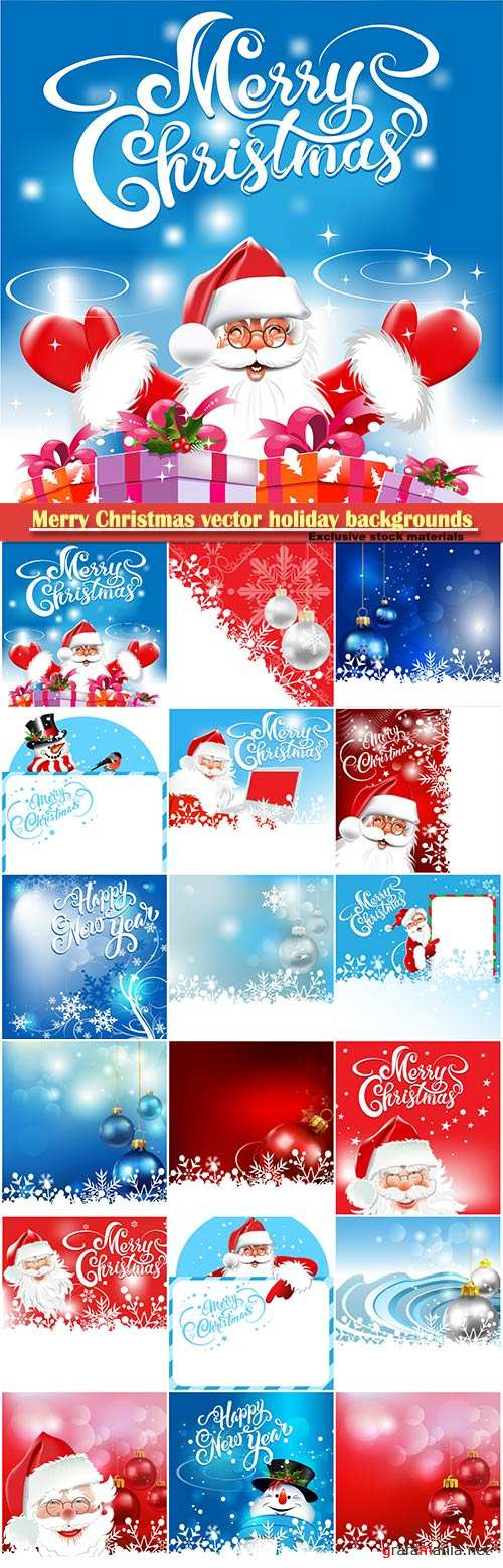 Merry Christmas vector holiday backgrounds, Santa Claus, snowman, Christmas decorations and snowflakes