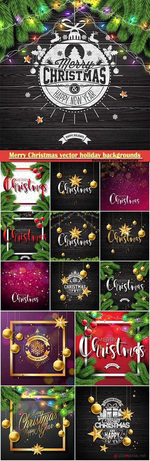 Merry Christmas vector holiday backgrounds, Christmas decorations and snowflakes