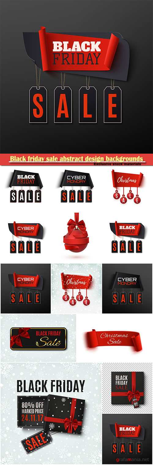 Black friday sale abstract design backgrounds, Christmas sale banner with christmas tree decorations