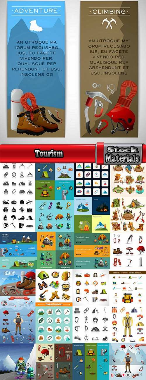 Tourism mountaineering icon flyer banner climbing equipment 25 EPS