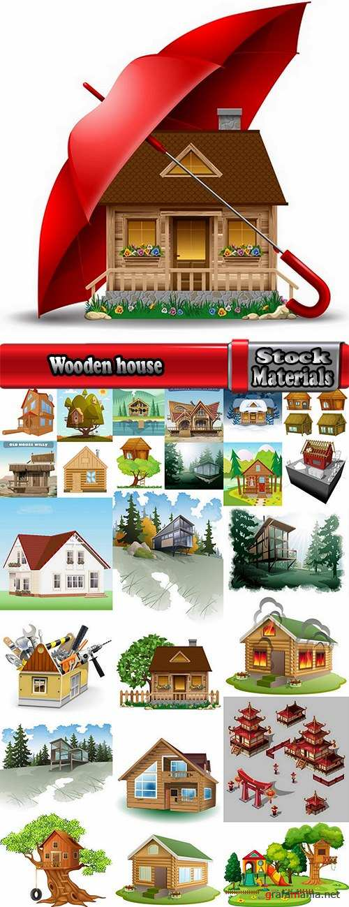 Wooden house on a tree hut vector image 25 EPS