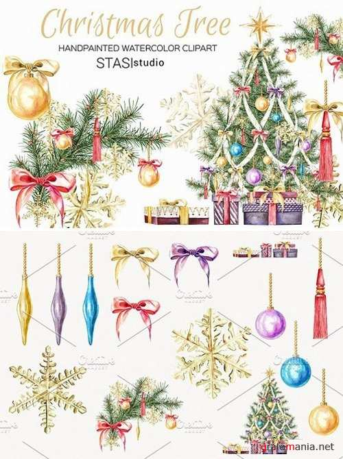 Watercolor Christmas Tree Clipart 1626533