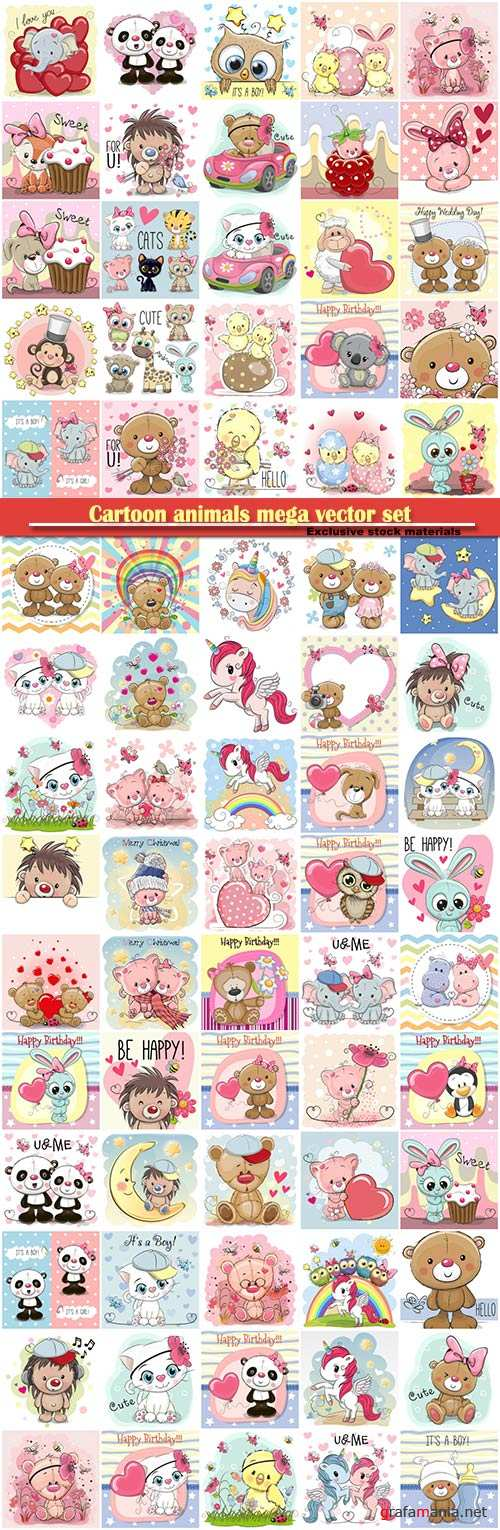 Cartoon animals mega vector set, kitten, dog, elephant, hedgehog, giraffe, owl, teddy bear, bunny