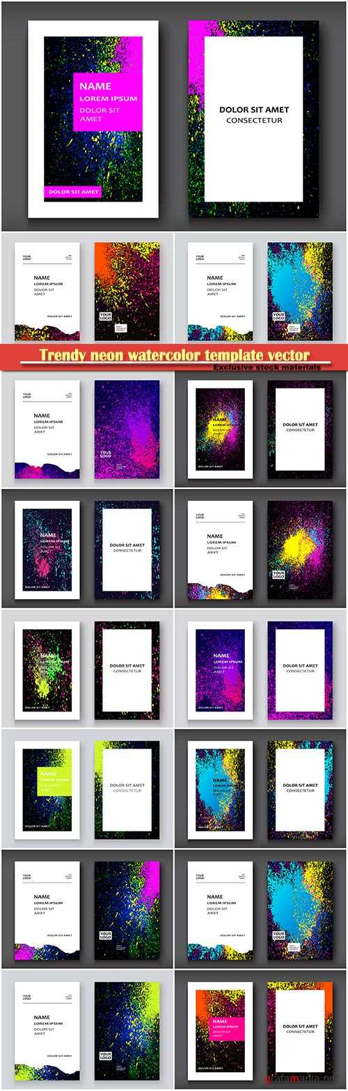 Trendy neon watercolor template vector illustration for flyer, business card