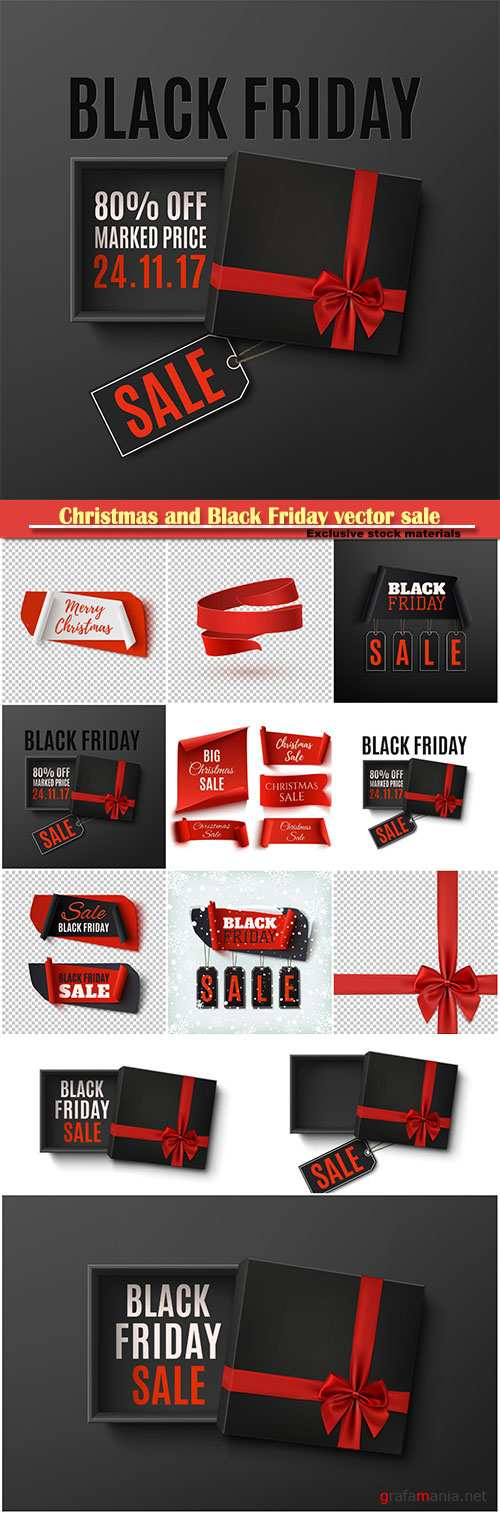 Christmas and Black Friday vector sale, set of five red, paper banners, abstract banners on transparent background