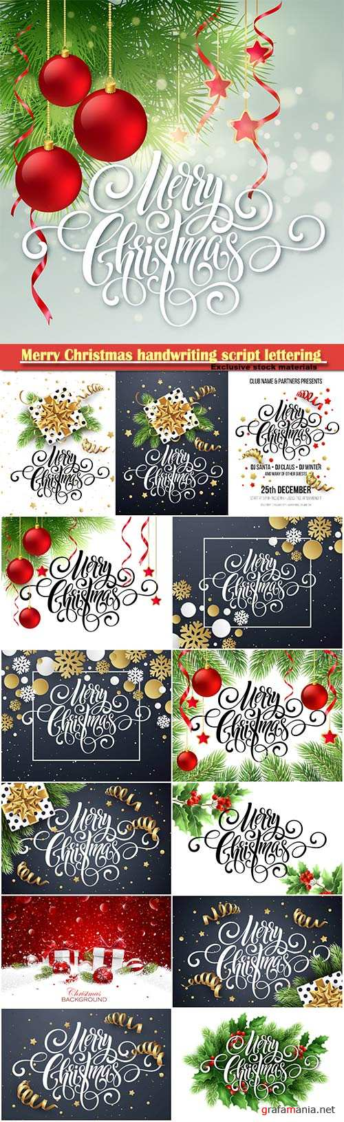 Merry Christmas handwriting script lettering, vector Christmas tree and decorations