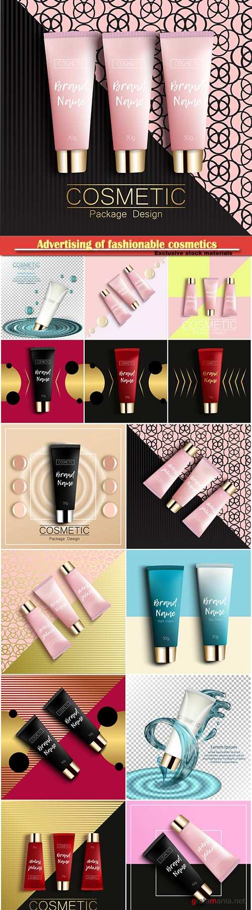Advertising of fashionable cosmetics, realistic 3D template design cosmetics packaging