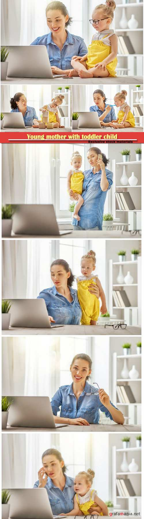 Young mother with toddler child working on the computer from home