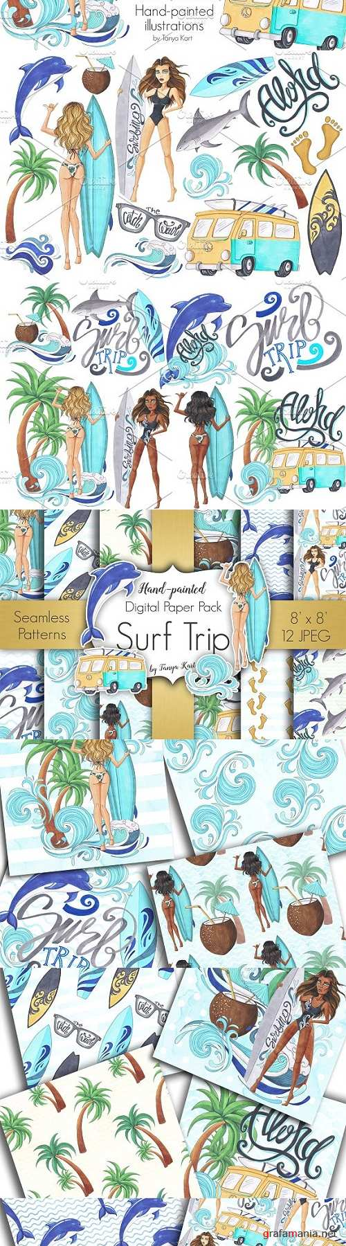 Surf Trip Hand painted Collection 1472698