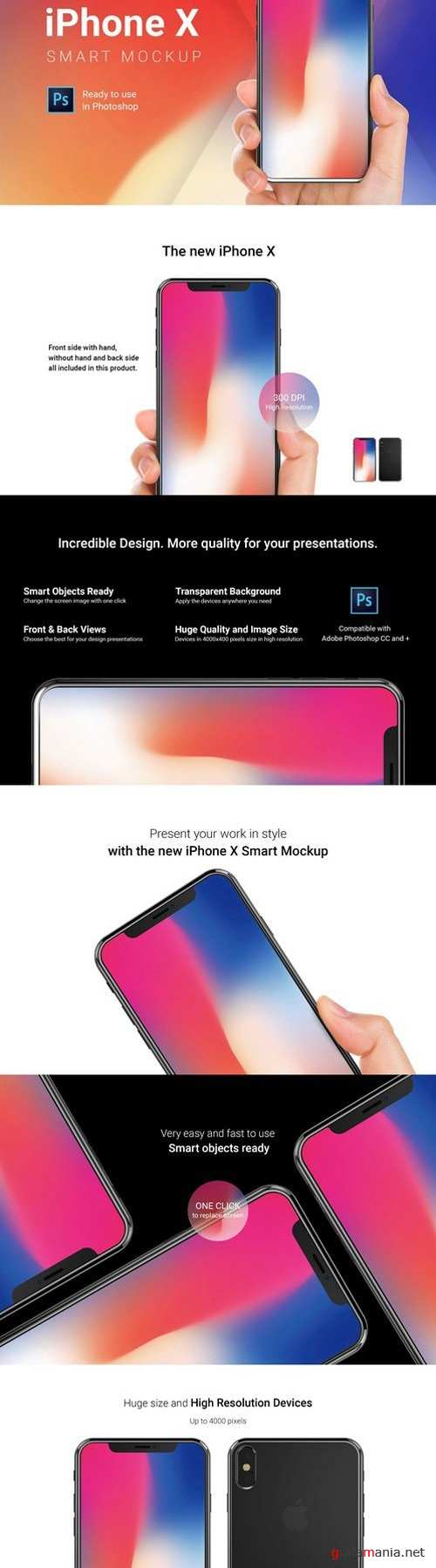 iPhone X Mockup with Hand Straight 1853071