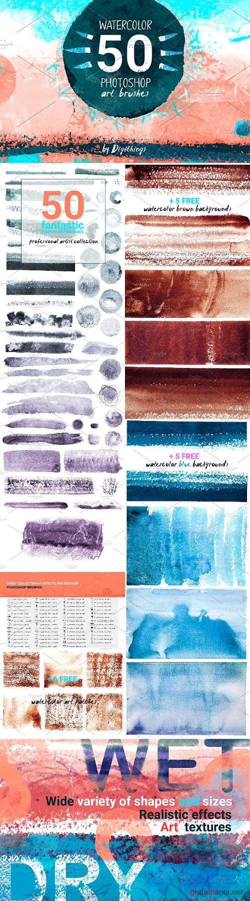 Watercolor art brushes for Photoshop 1834996