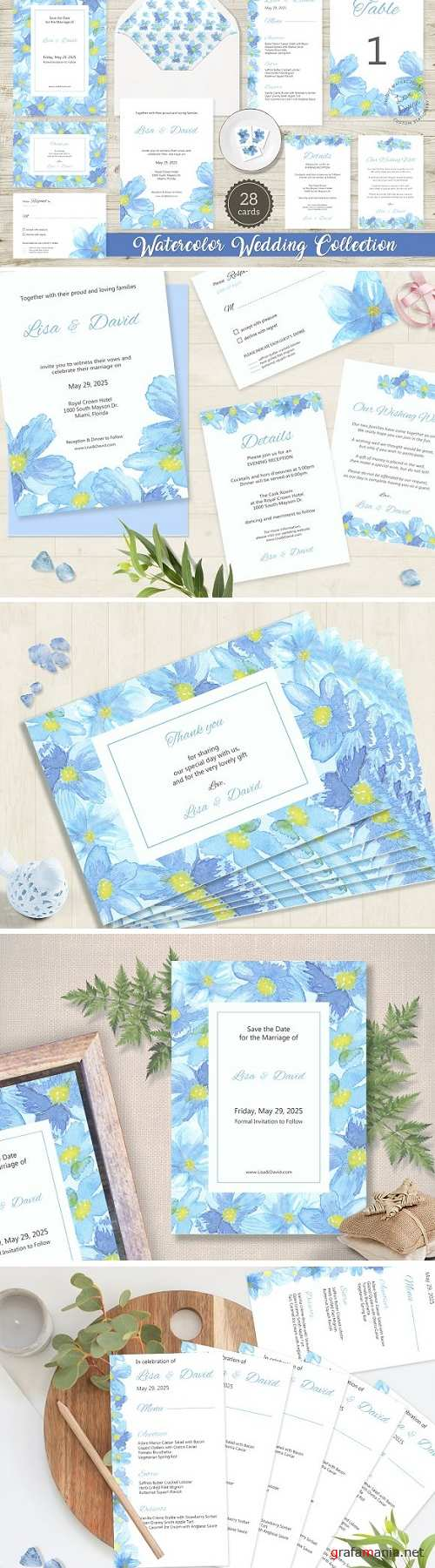 Blue Flower Watercolor Wedding Suite 1934103