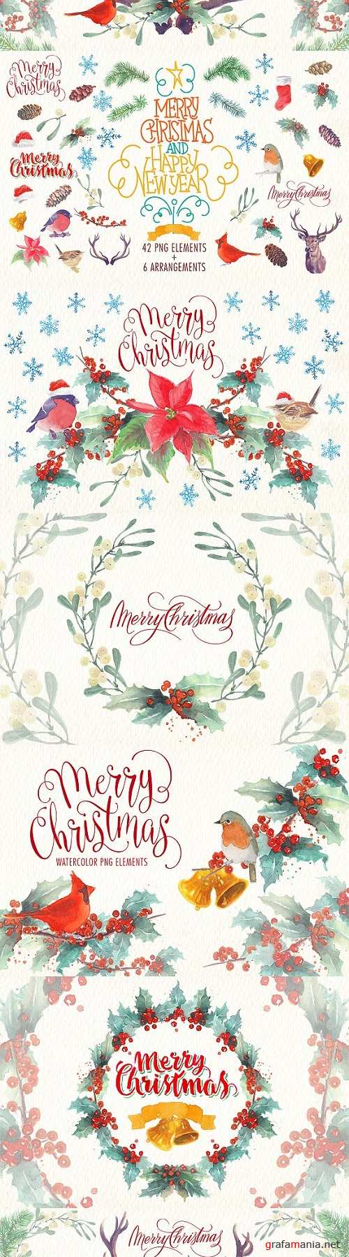 Watercolor christmas png elements 1949984