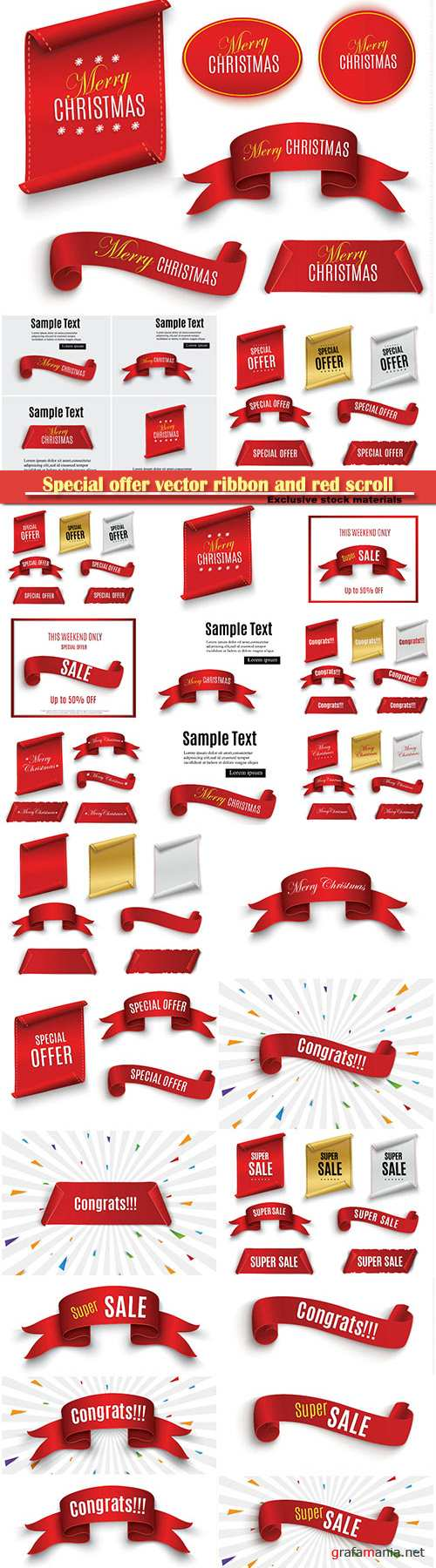 Special offer vector ribbon and red scroll, banner sale tag