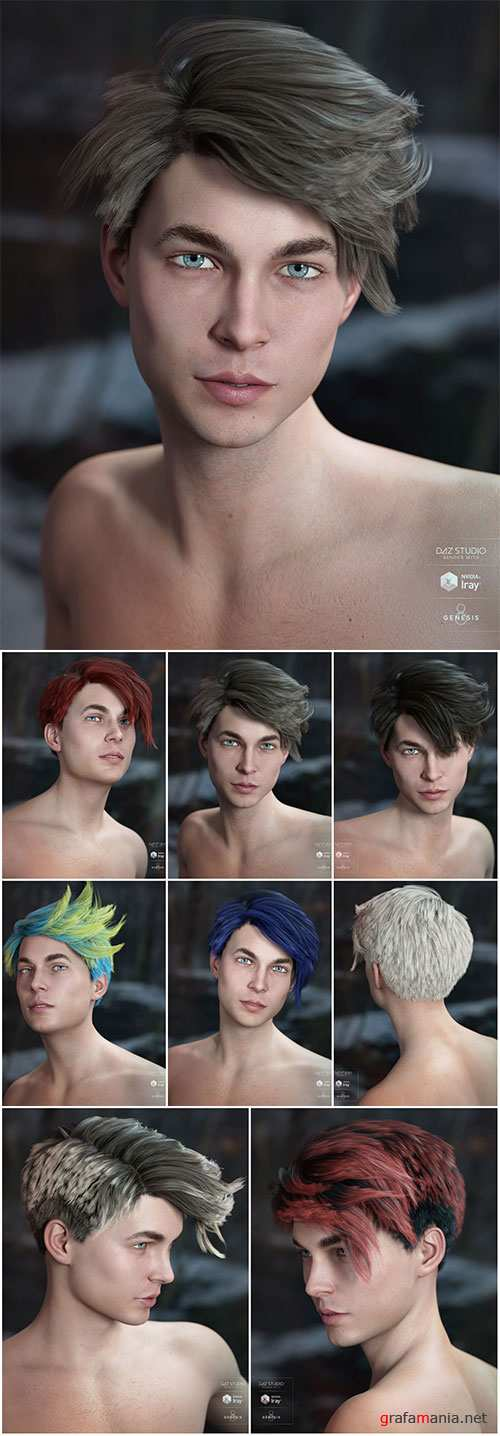 Lyall Hair for Genesis 3 & 8 Male(s)