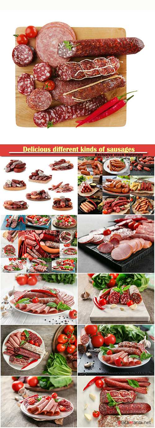 Delicious different kinds of sausages