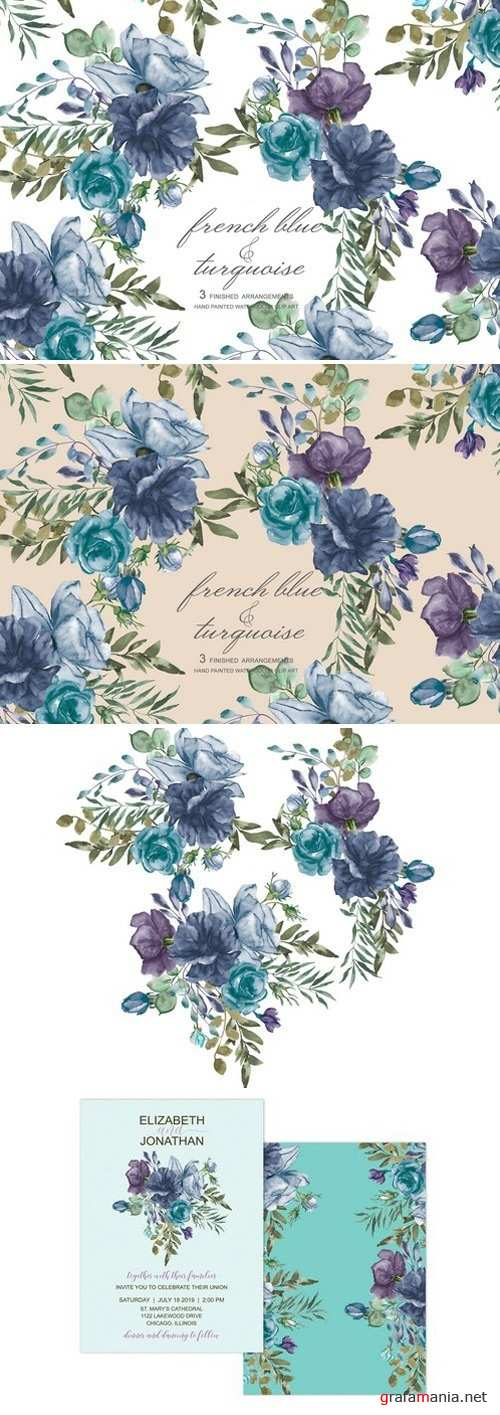 French Blue Watercolor Bouquets 1957399