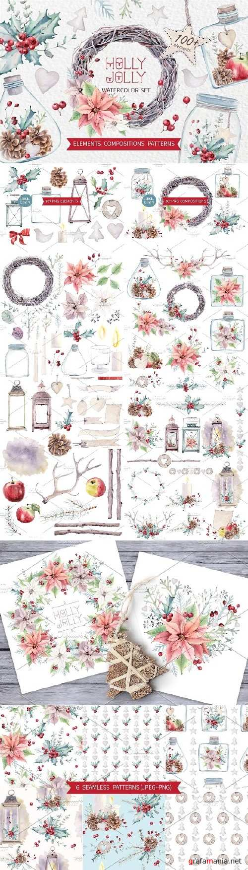 HOLLY JOLLY watercolor set - 957832