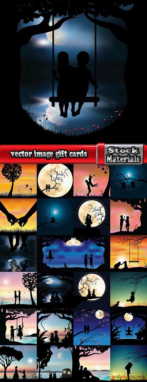 Different vector image gift cards birthday celebration 2-25 Eps