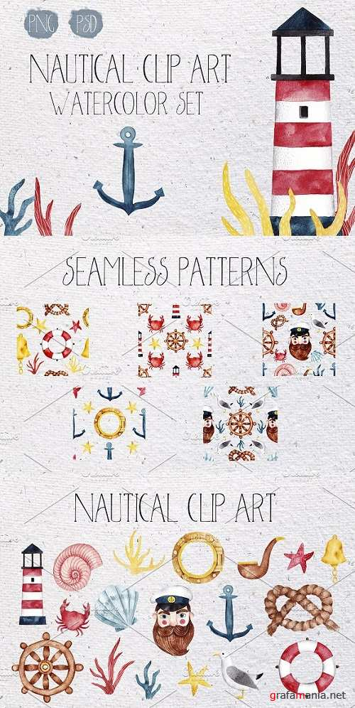 Nautical watercolor clip-art set - 1605531
