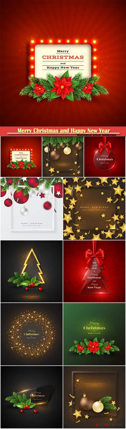 Merry Christmas and Happy New Year holiday background