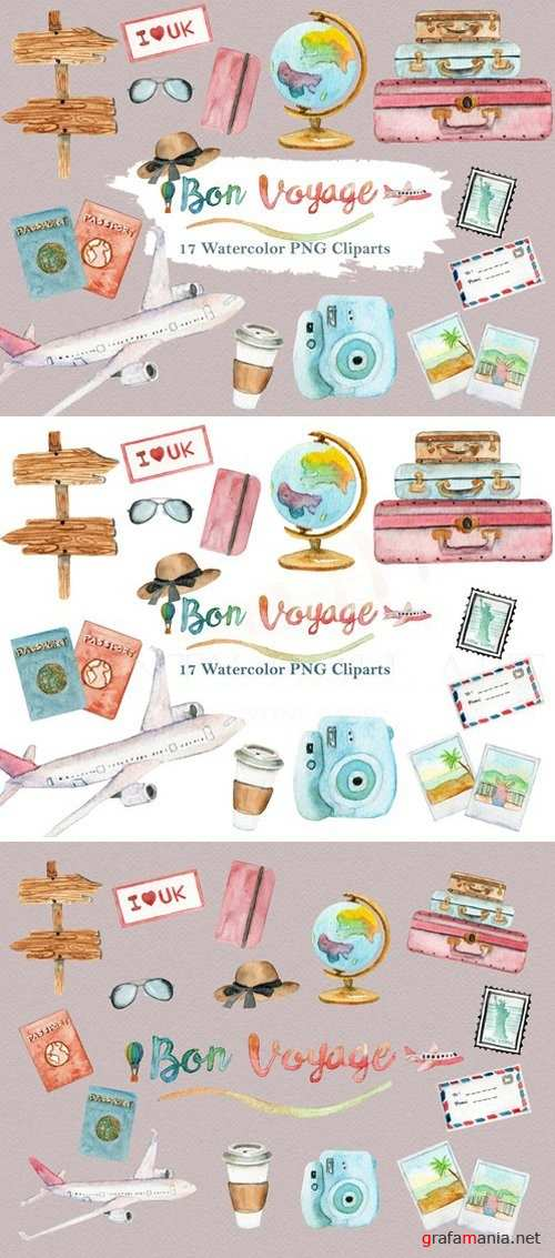 Watercolor Travel World Clipart Set 1957564