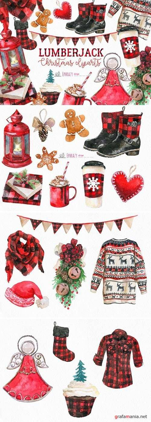 Christmas clipart. Buffalo plaid 1943227