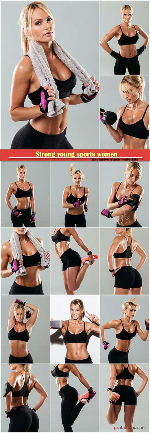 Strong young sports women