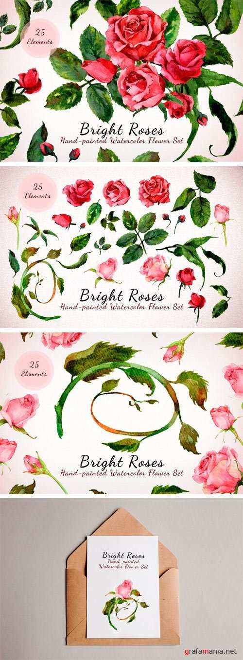 Bright Roses - Watercolor Floral Set 1988899