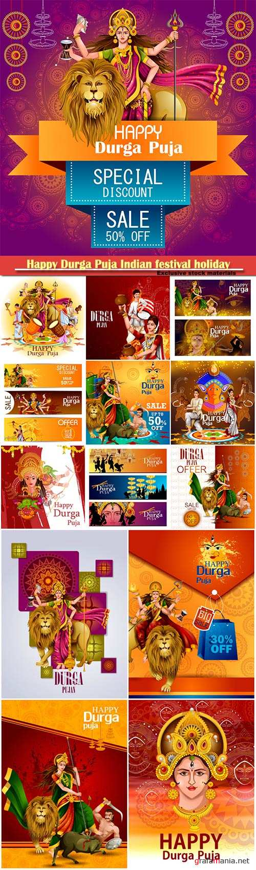 Happy Durga Puja Indian festival holiday vector background # 5
