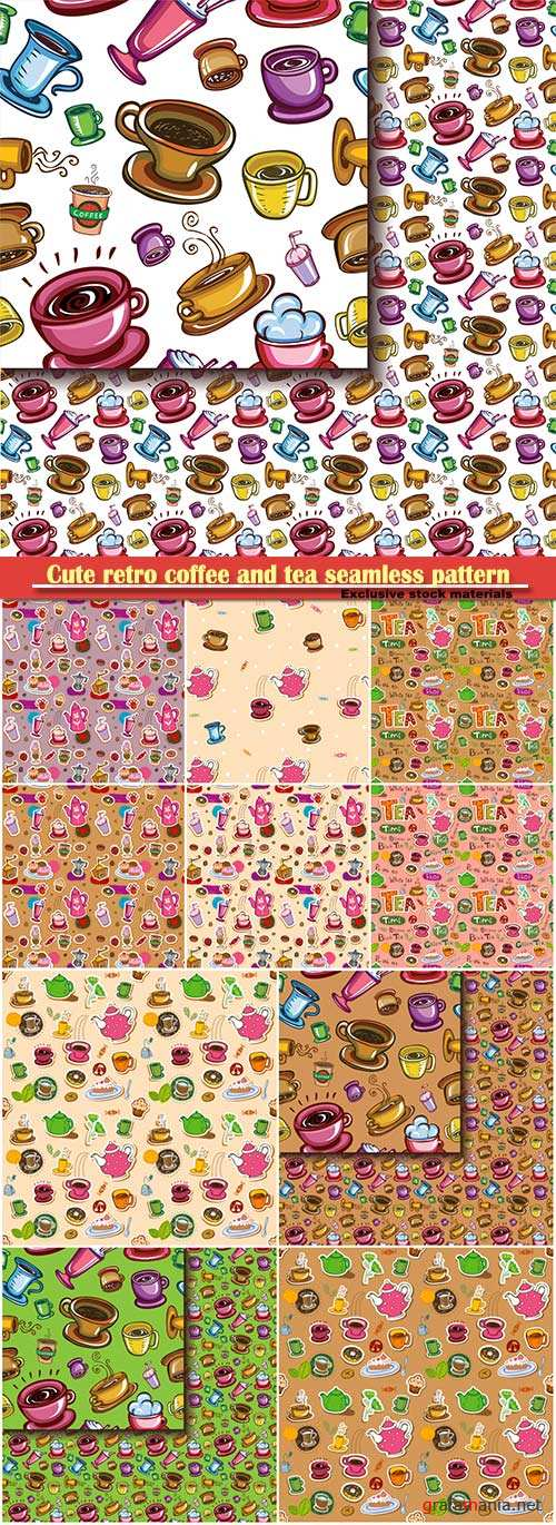 Cute retro coffee and tea seamless pattern with teapots, cups, entertainments and sweets