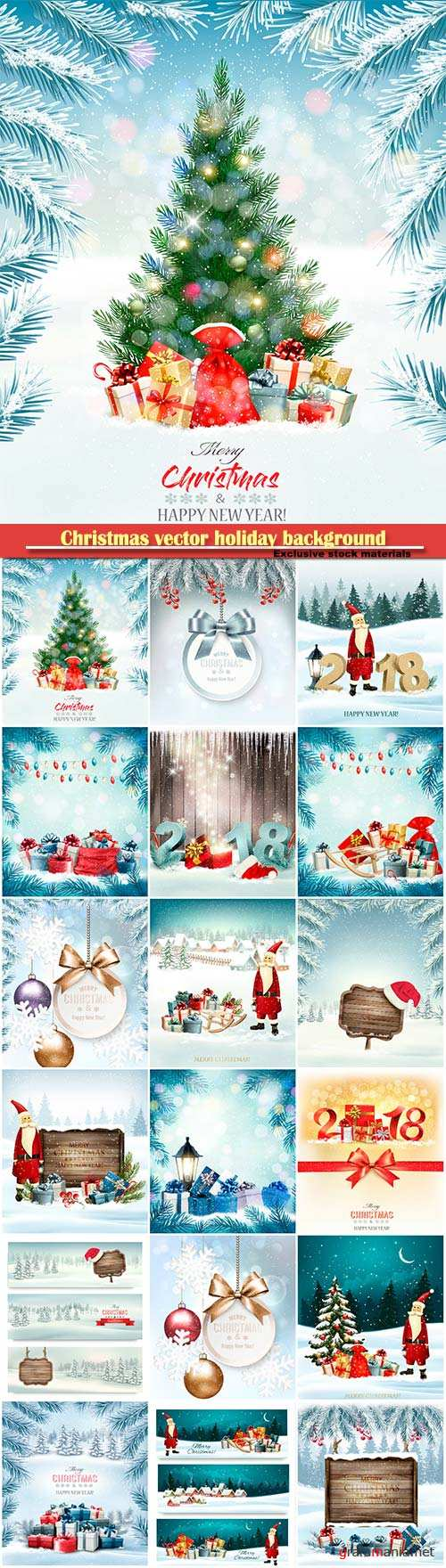 Christmas vector holiday background with presents and garland, holiday background with Christmas tree