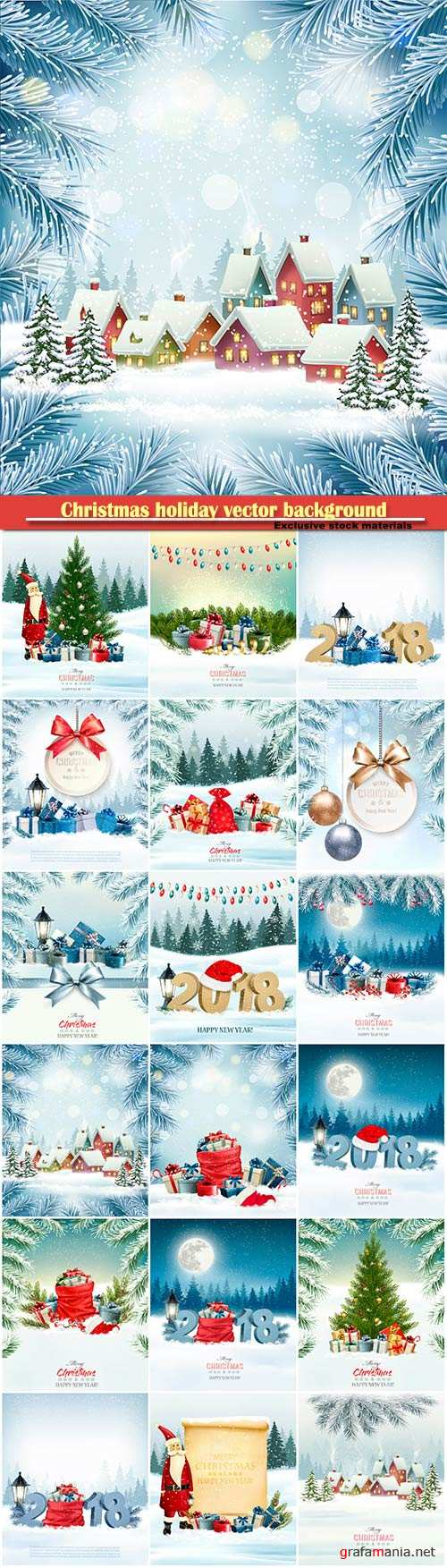 Christmas holiday vector background with 2018 and red Santa hat