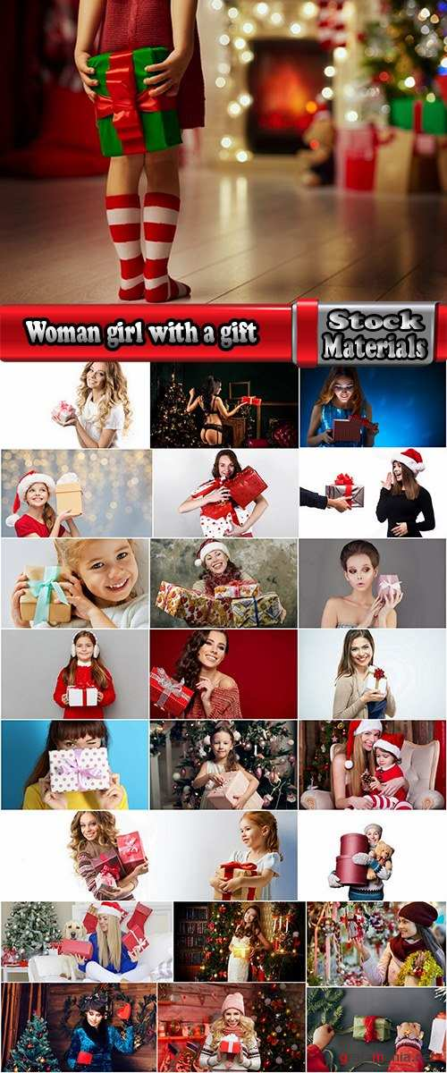 Woman girl with a gift new year christmas surprise package 25 HQ Jpeg