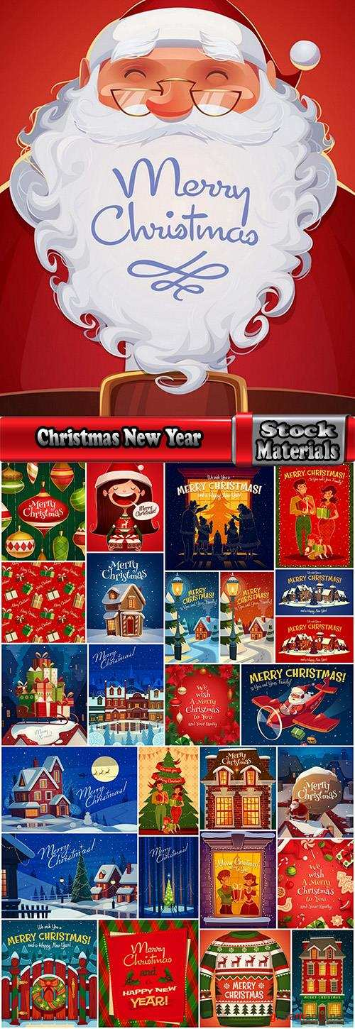 Christmas New Year holiday couple santa claus flyer gift card 25 EPS
