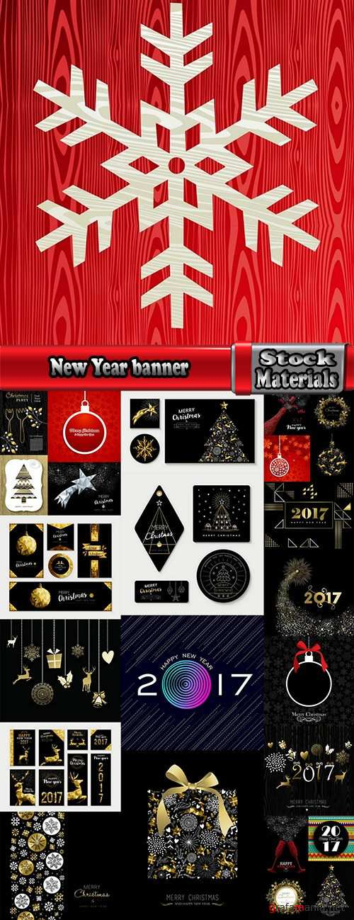 New Year banner Christmas flyer background is winter gift card 3-25 EPS