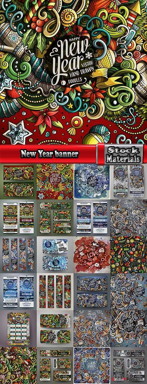 New Year banner Christmas flyer background is winter gift card EPS 25