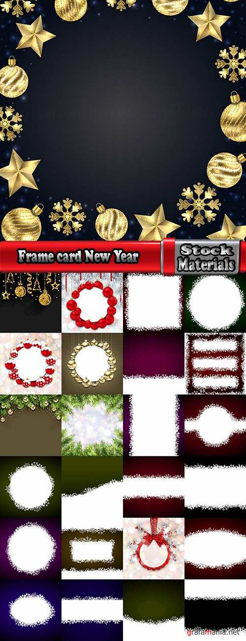 Frame card New Year Christmas tree toy gift card 25 EPS
