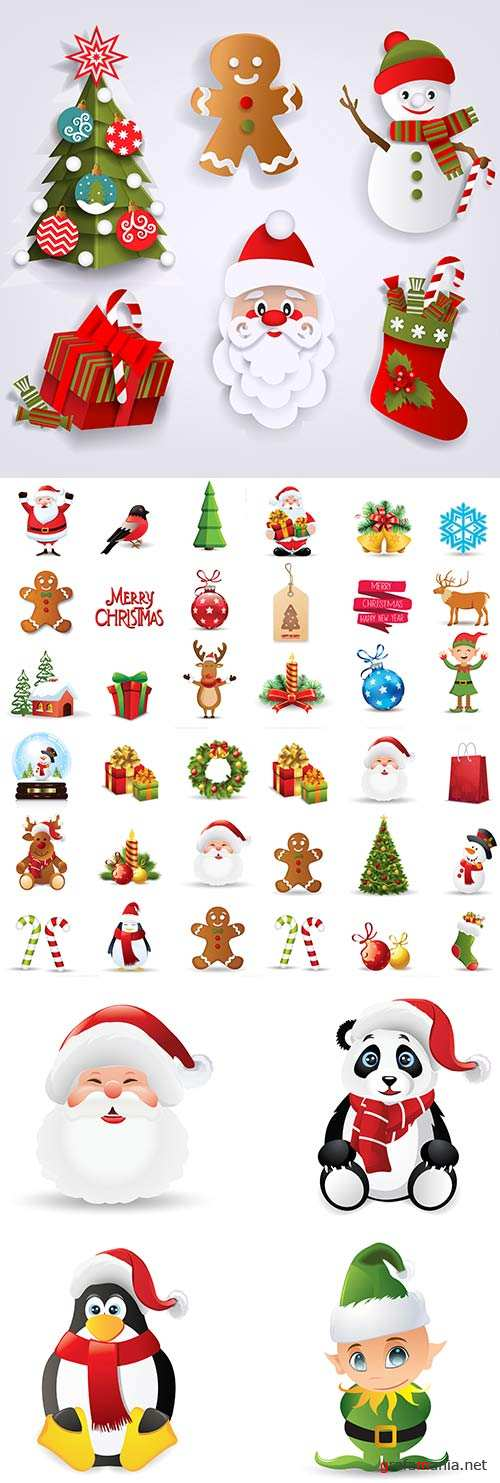 Christmas and New Year symbols holiday elements