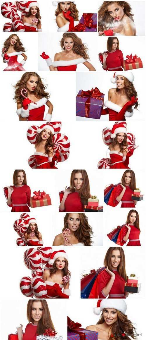 Santa Girl with Christmas Gifts on White Background 2, 20xJPG