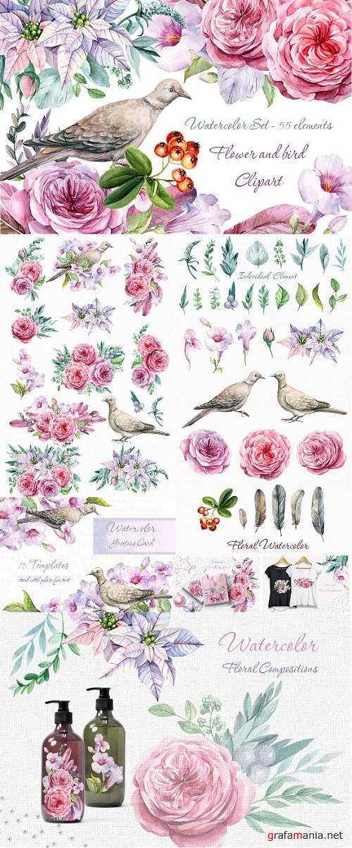 Flower and bird Clipart. Watercolor - 2017966