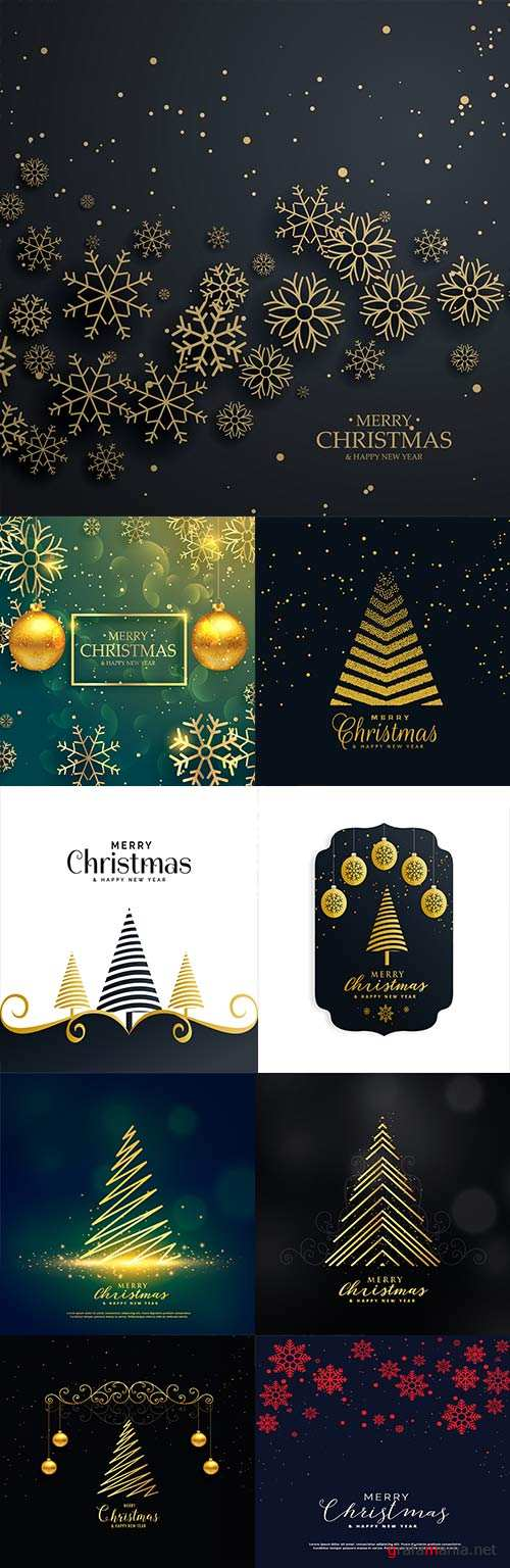 Happy Christmas snowflakes and gold fir-trees dark background