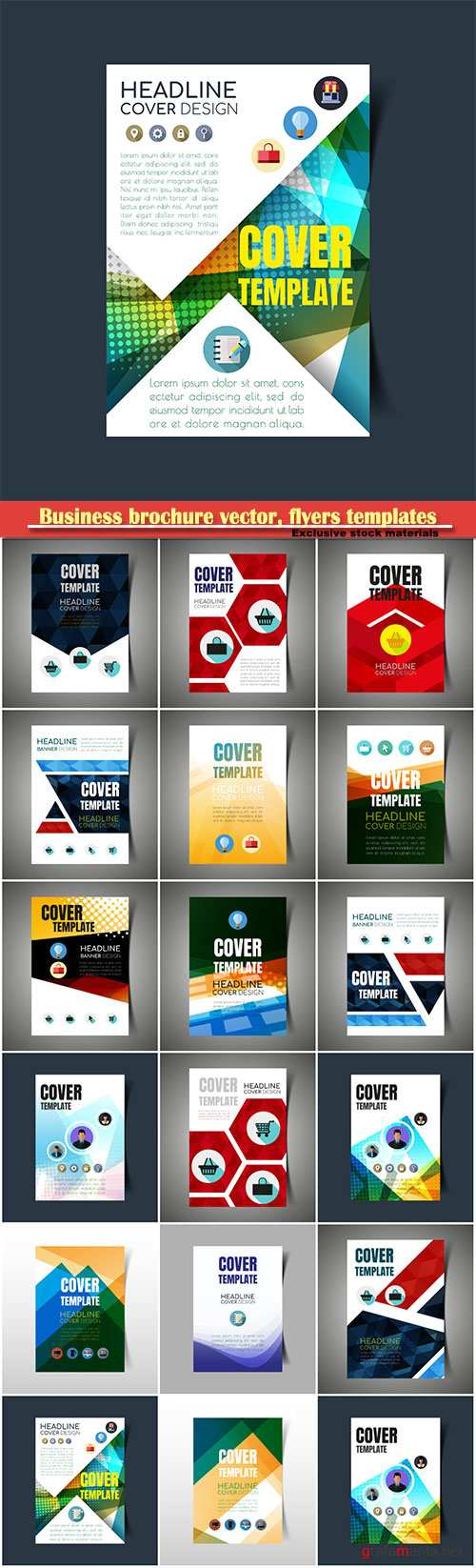 Business brochure vector, flyers templates, report cover design # 81