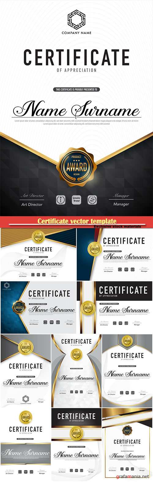 Certificate vector template luxury and diploma style # 50